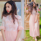 Womens Girls Organza Embroidery Chiffon Homecoming Party Dress Ball Gown Pink
