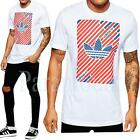 Adidas Originals Striped Trefoil Retro Printed T-shirt  Mens Size