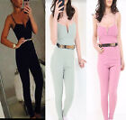 New Women's Ladies Belted Metal Belt Strappy Tailored Jumpsuit Playsuit Sexy UK