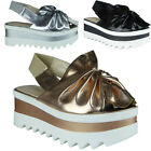 New Womens Ladies Trainers Platform Slip On Flat Bow Sneakers Pumps Shoes Size