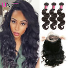 7A Brazilian Body Wave 360 Lace Frontal Closure with 3 Bundles Human Hair Weaves