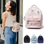 Floral Embroidery Small Mini Genuine Leather Velvet Backpack Rucksack Purse Bag