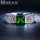 Mdean Emerald Rings For Women Green White Gold Plated Women Rings Cz Diamond Jew