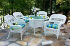 """Outdoor Patio Furniture 5 piece White Wicker 48"""" Round Dining Set with Cushions"""