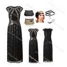Champagne Gold 1920s Flapper Gatsby Wedding Party Long Formal Evening Prom Dress