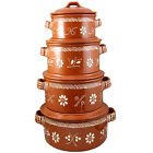 Traditional Portuguese Hand Painted Vintage Clay Terracotta Cooking Pot With Lid
