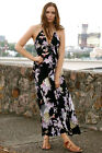 NEW Crane & Floral Print Casual Maxi Dress Halterneck Beautiful Gown Fab