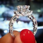 1.47CT Three Stone Pave Set Princess Cut Diamond Pure 925 Silver Engagement Ring
