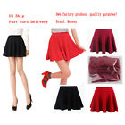 Women Girls Basic A Line Pleated Circle Stretchy Flared Skater Mini Skirt USA