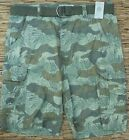 RUSTIC BLUE MENS 8 POCKET COTTON OILVE CAMO CARGO SHORTS W/LOOP BELT LIST $50