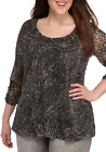 Kim Rogers® Plus Size Ruched Sleeve Lace Knit Top/Black/Taupe/NWT