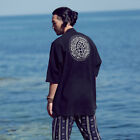 Men Linen Black Half Sleeves Kimono Style Ethnic Lotus Cardigan Jacket Sweater