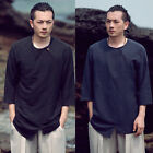Men Linen Navy Black Mandarin Ethnic Closure Irregular 3/4 Sleeves Top T-Shirt