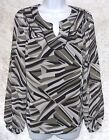 a n a Womens Blouse top printed chiffon long sleeves polyester size S NEW