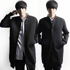 Men Casual Chic Stylish Black Ribbed Neck Hip Length Long Outerwear Coat Jacket