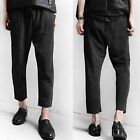 Men Black Stripe Pinstripe Drawstring Stretch Waist Capri Cropped Pants Trousers