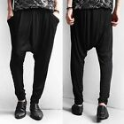 Men Black Stretch Straight Leg Harem Low Rise Drop Crotch Joggers Pants Trousers