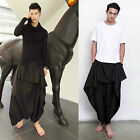 Men Black Striped Japanese Samurai Loose Drop Crotch Layer Harem Pants Trousers