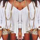 Women Ladies Casual Long Sleeve Lace Shirt Casual Loose Blouse T Shirt Tops