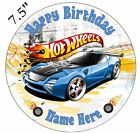 Hot Wheels Personalised Edible Icing Cake Topper 7.5in Precut Round/Square
