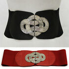 Fashion Women Black Elastic Waist Circle Belt Rhinestone Wide Stretch Waistband