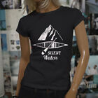 SILENT WATERS KAYAK OCEAN BEACH SEA MOUNTAINS Womens Black T-Shirt