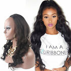 "15""-20"" Remy human hair body wave 3/4 Machine Weft glueless half wigs"