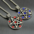 Large Wicca Pentagram Pentacle CZ Gemstone Stainless Steel Men Pendant Necklace