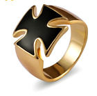 MENS BLACK IRON CROSS GOLD STAINLESS STEEL RING, MALTESE / GERMAN CROSS ALL SIZE