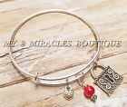 Expandable KEY TO MY HEART Bangle Bracelet Red Wife Girlfriend Valentines Day