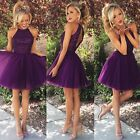 Short Purple Sequin Cocktail Party Prom Dresses Homecoming Ball Tulle Gown HD136