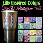 Lilly Patterned Vine Circle Monogram Name Decal Sticker for YETI Tumbler Cooler