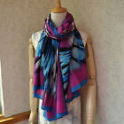 100% Wool Long Scarf Butterfly Design 170cm x 86cm Purple Color