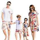 2017 Summer Family clothing Floral woman girl dress father son Sets casual