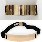 Women Wide Stretch Elastic Mirror Metal Gold Plate Waist Belt Obi Plus Size XXL
