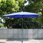 Rectangular Outdoor Table Umbrella Awning LED Solar Powered Lighted Patio Garden