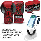 Professional Boxing Sparring Gloves Gum Sheild Hand Wraps Carry Bag RED All Size