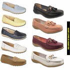 LADIES FLAT WOMENS LEATHER WORK CASUAL COMFORT SLIP ON LOAFERS SCHOOL SHOES SIZE