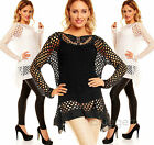 Womens Long Sleeve 2 Piece Tunic Top with Crochet Lace Lagenlook Size 10 12 14