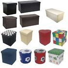'Large New Folding Storage Ottoman Seat Toy Storage Box Faux Leather Pouffe Stool