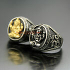 Vintage Stainless Steel Ganesha Amulet Ring Thai God of Success Band Silver Gold