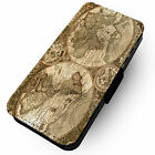 Old World Map - Faux Leather Flip Phone Cover Case Steampunk Earth Antique #2