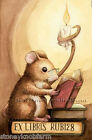 Mouse Reading ~ Vintage Bookplate ~ Cross Stitch Pattern