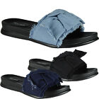 New Womens Ladies Comfy Plain Denim Bow Sliders Flats Shoes Slides Slippers Size