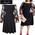 US Plus Size + Women Dress Evening Cocktail Party Long Sleeve Beach Dress Black