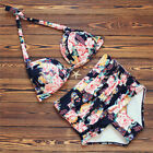 Women Plus Size Swimwear Floral High Waisted Bikini Set Push Up Padded Swimsuit