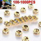 1000pcs Shiny Golden Clear Crystal Rhinestone Charms Rondelle Spacer Beads 6mm