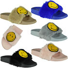 Womens Ladies Comfy Plain Rubber Emoji Sliders Flats Shoes Slides Slippers Size