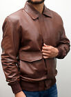A 2 REAL LEATHER USAF AIR - FORCE FLIGHT BOMBER HARRINGTON JACKET TAN BROWN