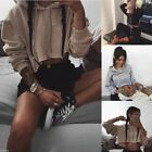 US New Women Long Sleeve Hoodie Sweatshirt Sweater Casual Crop Top Coat Pullover